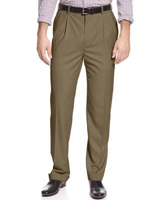 Louis Raphael Classic-Fit Hidden Extention Pleated Dress Pants