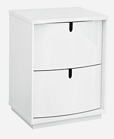 Two Drawers Wooden Nightstand with Cut Out Handle