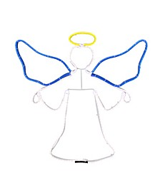 """20"""" Neon Style LED Lighted Angel Christmas Window Silhouette Decoration"""