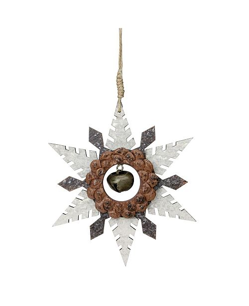 """Northlight 6"""" Brown Wooden Snowflake Christmas Ornament with a Country Rustic Bell"""