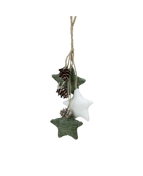 Northlight White and Green Burlap Star and Pine Cone Christmas ornament
