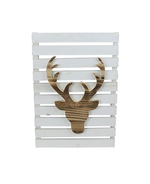 """Northlight 15.75"""" Wood Deer on White Pallet Inspired Frame Christmas Wall Hanging"""