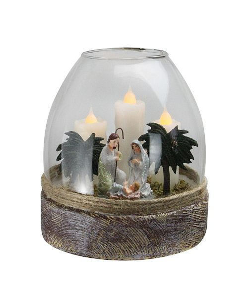 """Northlight 5"""" Clear Glass Joseph Mary and Jesus Figurine Flickering Candle Jar"""