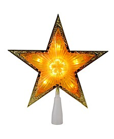 """9"""" Lighted Gold-Tone Edged Christmas Star Tree Topper - Clear Lights"""