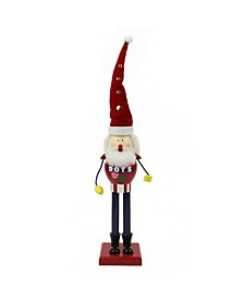 """16.75"""" Decorative Red and Blue Dots Wooden Christmas Nutcracker Figure"""