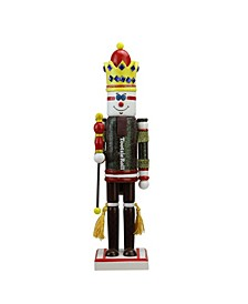 """14"""" Decorative Brown and Red TootsieRoll King Wooden Christmas Nutcracker Figure"""
