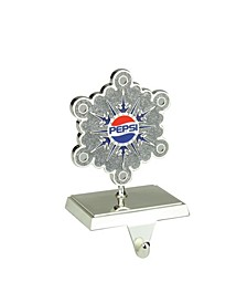 "6.5"" Silver Plated Pepsi Snowflake Christmas Stocking Holder with European Crystals"