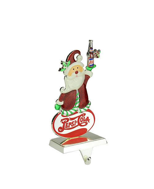 """Northlight 9.75"""" Silver Plated Pepsi-Cola Santa Claus Christmas Stocking Holder with European Crystals"""