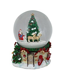 "6.75"" Musical and Animated Santa on Sleigh Rotating Christmas Snow Globe"