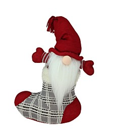 """14.5"""" Gray and Red """"Tristan"""" Gnome in Christmas Stocking Tabletop Decoration"""