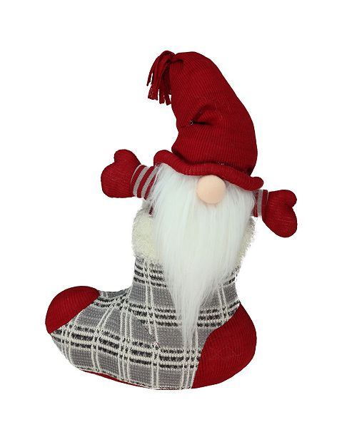"""Northlight 14.5"""" Gray and Red """"Tristan"""" Gnome in Christmas Stocking Tabletop Decoration"""