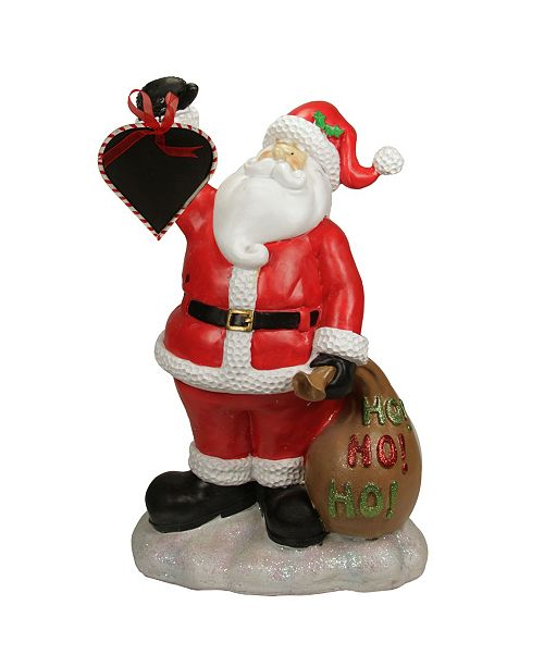 "Northlight 19"" Festive Santa Claus Holding Toy Sack and Blackboard Christmas Countdown Statue"