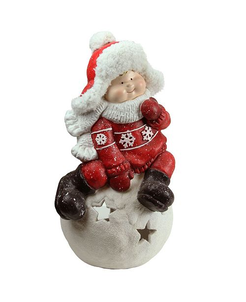 "Northlight 19.25"" Christmas Morning Boy on a Snowball Christmas Tealight Candle Holder"