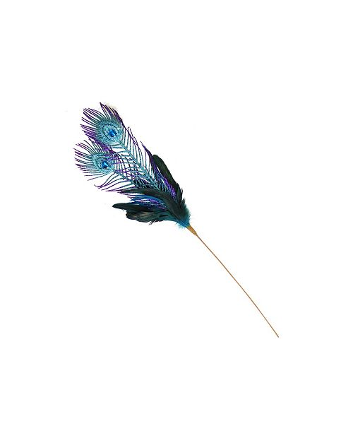 """Northlight 26"""" Purple and Blue Peacock Feather with Faux Jewel Christmas Pick"""