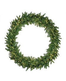 """48"""" Pre-Lit Northern Pine Artificial Christmas Wreath - Warm White LED Lights"""