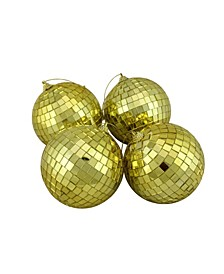 "4ct Gold Mirrored Glass Disco Ball Christmas Ornaments 4"" 100mm"