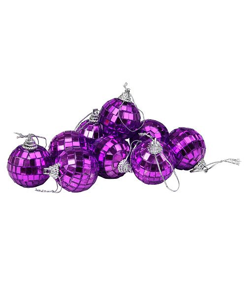 "Northlight 9ct Purple Mirrored Glass Disco Ball Christmas Ornaments 1.5"" 40mm"