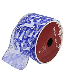 "Pack of 12 Blue Winter Wonderland Flying Reindeer Wired Christmas Craft Ribbon Spool - 2.5"" x 120 Yards Total"