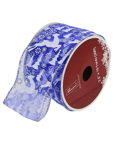 "Northlight Pack of 12 Blue Winter Wonderland Flying Reindeer Wired Christmas Craft Ribbon Spool - 2.5"" x 120 Yards Total"