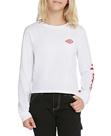 Big Girls Long Sleeve Crop Tee with Sleeve Logo