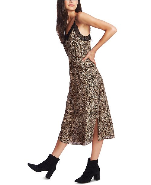 1.STATE Animal Print Lace-Trimmed Slip Dress
