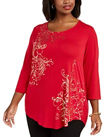 Plus Size Foil-Print Top, Created For Macy's