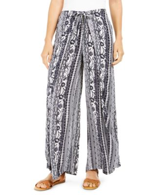 RD Style Womens Crinkle Printed Wide Leg Crop Pant