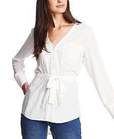 Belted Button-Up Top
