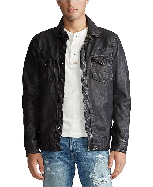 Polo Ralph Lauren Men's Washed Leather Shirt Jacket