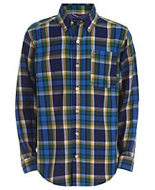 Big Boys Basil Yarn-Dyed Plaid Logo-Print Shirt