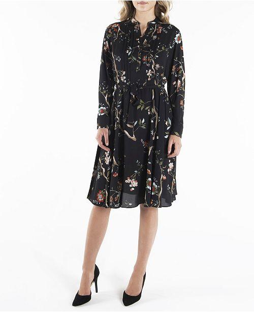 nanette Nanette Lepore Long Sleeve Pintuck Shirtdress with Sash Belt