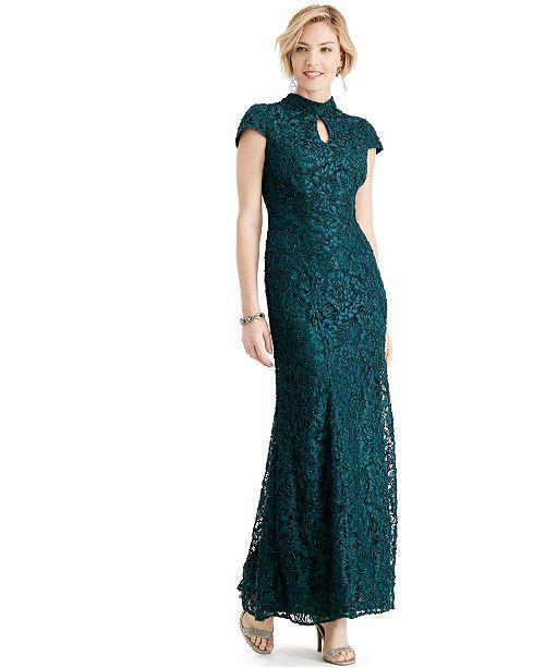 Alex Evenings Glitter Lace Mermaid Gown