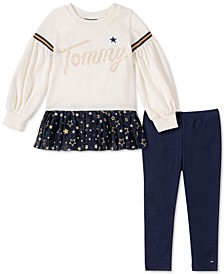 Little Girls 2-Pc. Velour Glitter-Mesh Top & Leggings Set