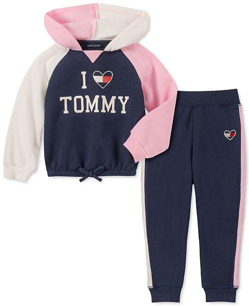 Tommy Hilfiger Toddler Girls 2-Pc. Colorblocked Hoodie & Fleece Jogger Pants Set