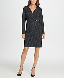 V-Neck Pinstripe Gold Button Coat Dress