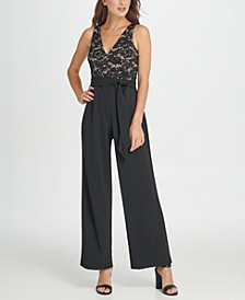 V-Neck Lace Top Jumpsuit