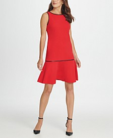 Piped Flounce Hem Sheath Dress