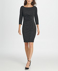 Metallic Knit Side Ruche Sheath Dress