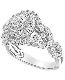 Diamond Halo Braided Shank Engagement Ring (1-1/2 ct. t.w.) in 14k White Gold