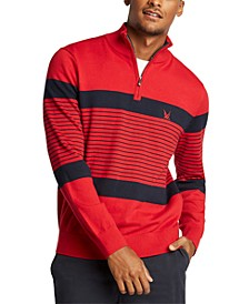 Men's Blue Sail Navtech Quarter-Zip Sweater in Engineered Stripe, Created For Macy's