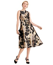 Petite Floral-Print Metallic A-Line Dress