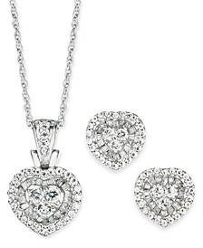 2-Pc. Set Diamond Halo Heart Cluster Pendant Necklace & Matching Stud Earrings (1 ct. t.w.) in 10k White Gold (Also in Round & Square)