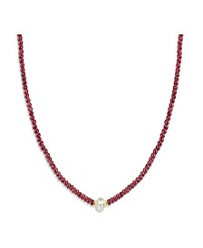 Gemstone and Cultured Pearl (9-10 mm) Strand Necklace in 14k Yellow Gold (Available in Certified Ruby (80-1/2 ct. t.w), Sapphire (80-1/2 ct. t.w.), Emerald (80-1/2 ct. t.w.) and Black Spinel (60- 1/2 ct. t.w)