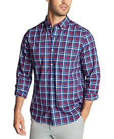 Men's Blue Sail Navtech Wrinkle-Resistant Plaid Shirt, Created For Macy's