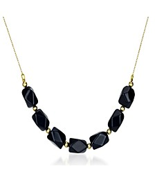 Black Onyx (9-10mm) Chain Necklace in 14k Yellow Gold