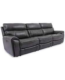 Hutchenson 3-Pc. Leather Sectional with 2 Power Recliners and Power Headrests