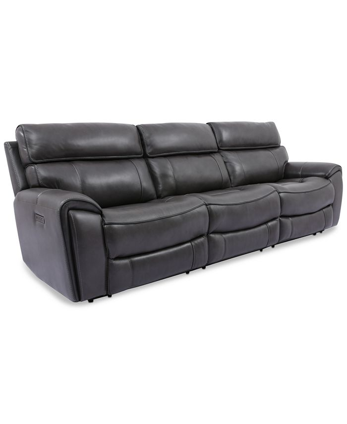 Furniture - Hutchenson 3-Pc. Leather Sectional with 2 Power Recliners and Power Headrests