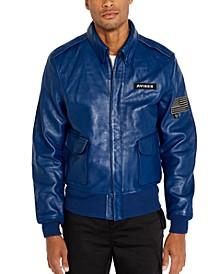 Men's Leather Aviator Bomber Jacket