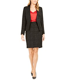 Metallic Tweed Open-Front Blazer, V-Neck Blouse & Metallic Tweed Pencil Skirt