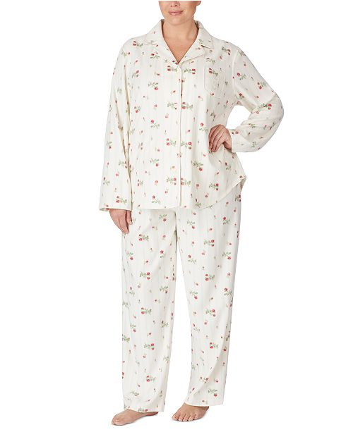 Lauren Ralph Lauren Plus Size Flannel Shirt & Pants Pajamas Set